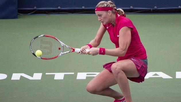 Petra Kvitová v utkání, v němž v Montrealu nestačila na Jekatěrinu Makarovovou z Ruska.