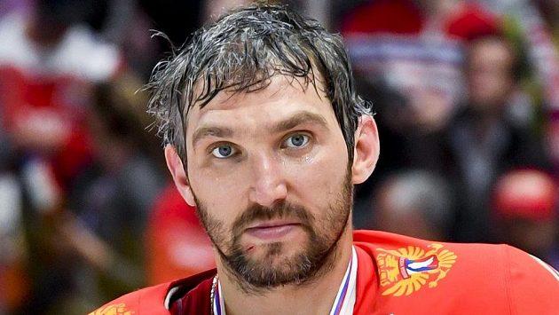 Ruský útočník Alexandr Ovečkin po utkání o třetí místo.