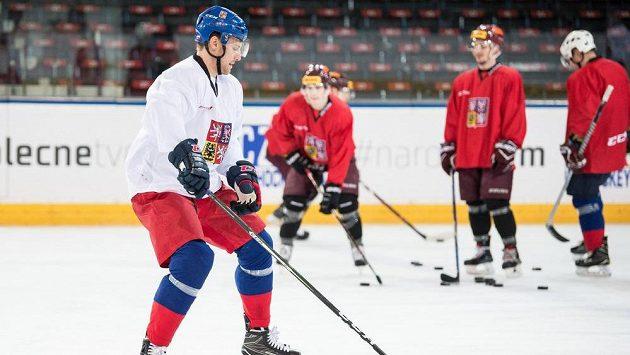 Ondřej Vitásek během tréninku hokejové reprezentace.