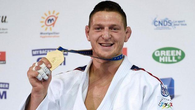 Judista Lukáš Krpálek se zlatou medailí z evropského šampionátu v Montpellieru.