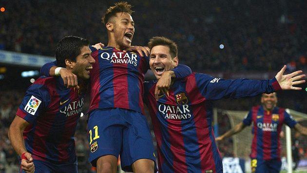 Zleva Luis Suárez, Neymar a Lionel Messi