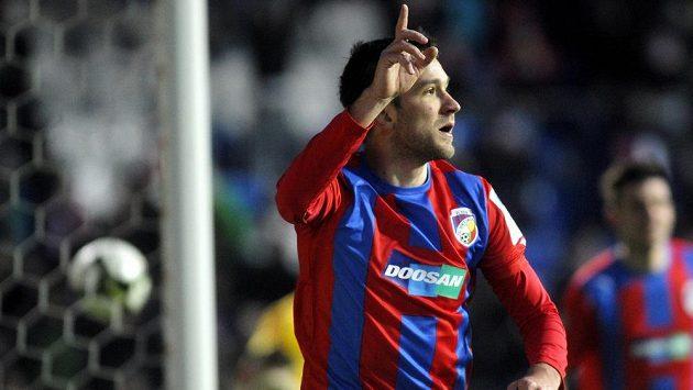 Plzeňský útočník Marek Bakoš se raduje z úvodního gólu do sítě Dukly.