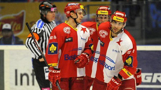 Smutek ve tváři hokejistů Slavie.