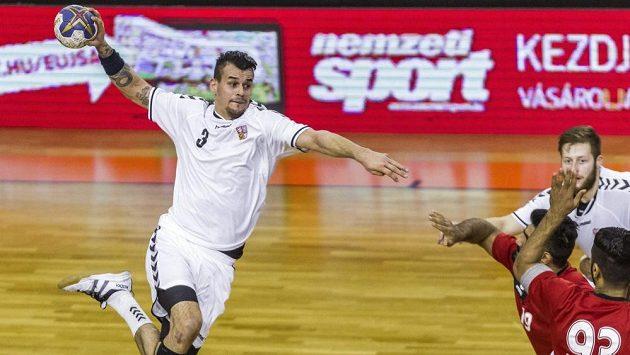 Český házenkář Roman Bečvář (vlevo) střílí v zápase proti Bahrajnu.