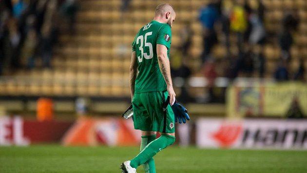 Sparťanský gólman David Bičík po úvodním utkání čtvrtfinále Evropské ligy ve Villarrealu.