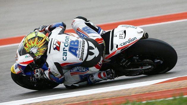 Karel Abraham se strojem Honda na okruhu v texaském Austinu.