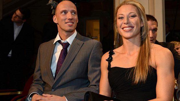 Jiřina Svobodová se svým manželem Petrem při vyhlášení ankety Atlet roku 2013.
