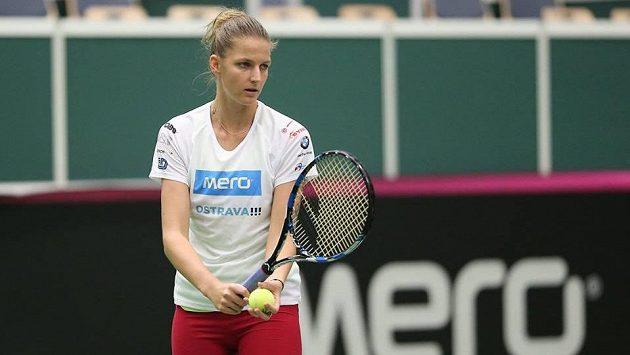 Karolína Plíšková při tréninku v ostravské hale.