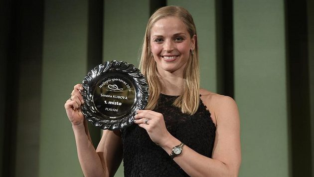 Simona Kubová po vyhlášení výsledků ankety o nejlepšího českého plavce roku 2019, ve které obsadila první místo.