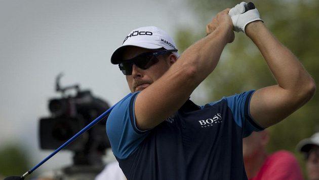 Švédský golfista Henrik Stenson na podniku v Dubaji.