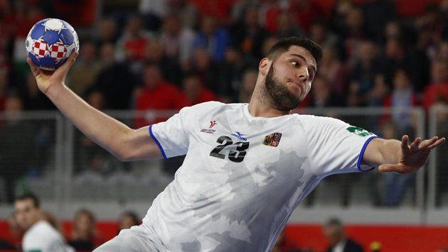 Leoš Petrovský střílí v utkání evropského šampionátu proti Maďarsku.