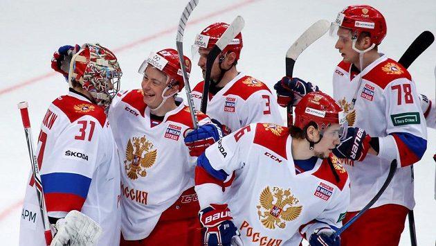 Ruská radost po výhře nad Finy v posledním utkání Channel One Cupu. Ilustrační snímek.