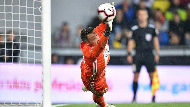 Brankář Mladé Boleslavi Jan Šeda penaltu proti Spatě nezlikvidoval.