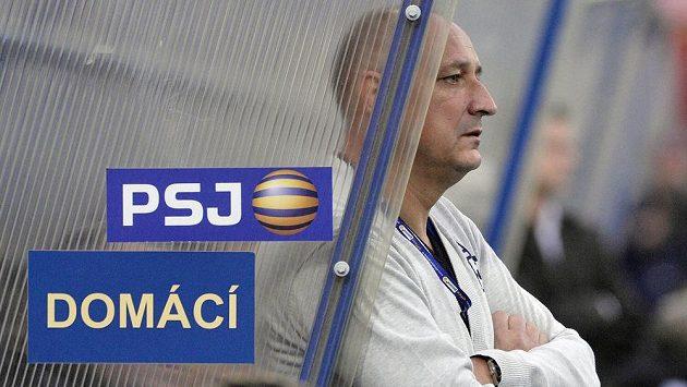 Trenér Jihlavy Roman Kučera v utkání se Slavií.