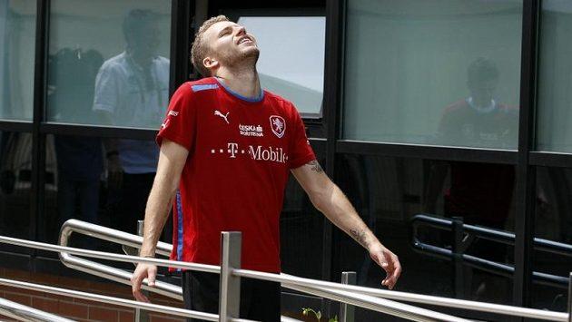Michal Kadlec na tréninku fotbalové reprezentace.