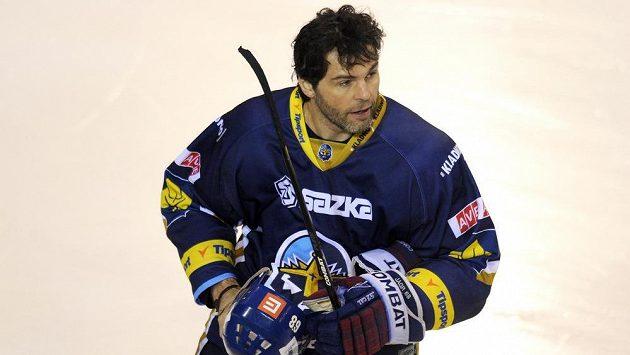 Jaromír Jágr v kladenském dresu během výluky NHL v sezoně 2012/13.