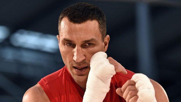 Ukrajinský boxer Vladimir Kličko před zápasem s Tysonem Furym v Esprit areně v Düsseldorfu.