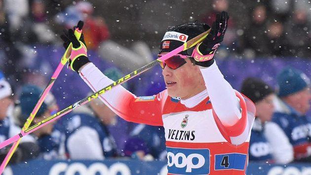 Johannes Hösflot Klaebo z Norska při závodě v Lahti, ilustrační foto.