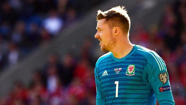 Wayne Hennessey v dresu Walesu v zápase proti Slovákům.