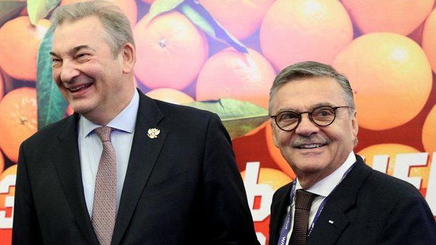 Prezident Ruské hokejové federace Vladislav Treťjak (vlevo) a šéf IIHF René Fasel.