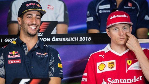 Daniel Ricciardo (vlevo) a Kimi Räikkönen.
