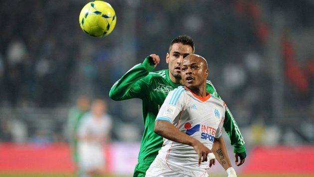 Ghanský útočník André Ayew (vpravo) v dresu Marseille.