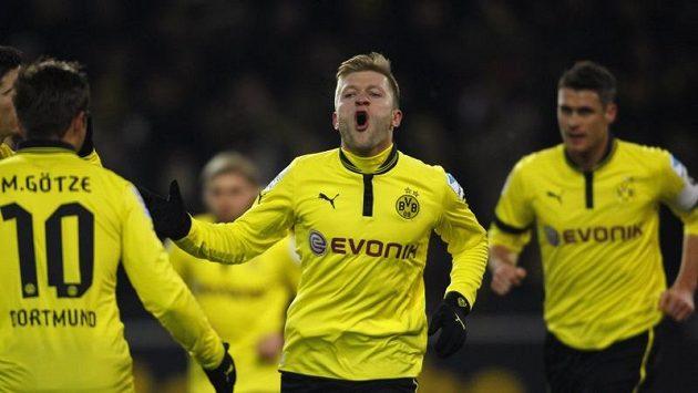 Jakub Blaszczykowski z Borussie Dortmund se raduje z branky do sítě Norimberku.