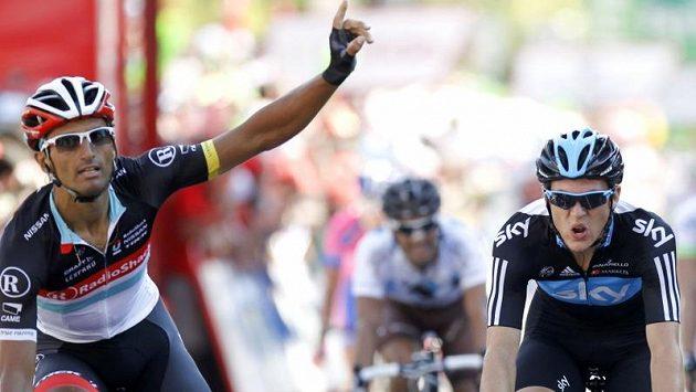 Cyklista stáje Radioshack-Nissan Daniele Bennati se raduje z etapového triumfu na Vueltě.