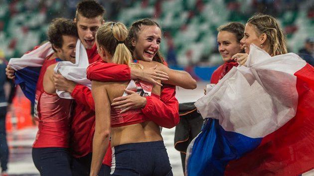 Radost českých atletů na Evropských hrách v Minsku.