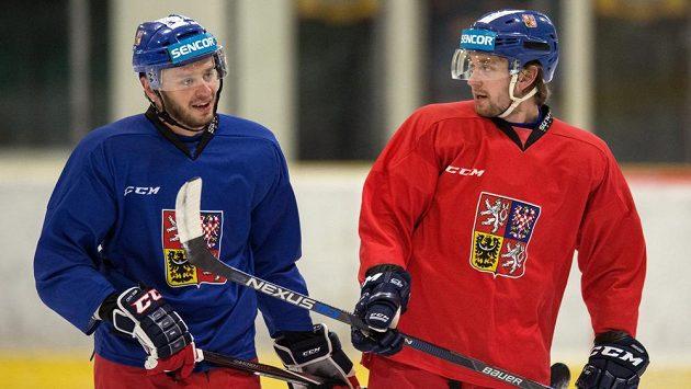 Tomáš Zohorna (vlevo) a Hynek Zohorna na tréninku české hokejové reprezentace. Od příští sezony by oba bratři měli nastupovat za Chabarovsk v KHL.