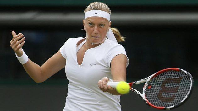 Petra Kvitová v utkání 3. kola Wimbledonu proti Jekatěrině Makarovové z Ruska.
