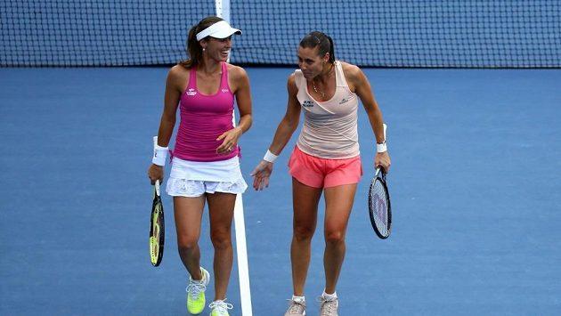 Martina Hingisová se svou italskou partnerkou na US Open Flavií Pennettaovou.