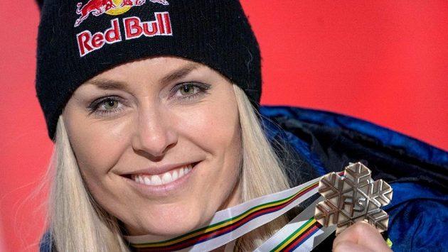 Lindsey Vonnová s medailí ze sjezdu na mistrovství světa.