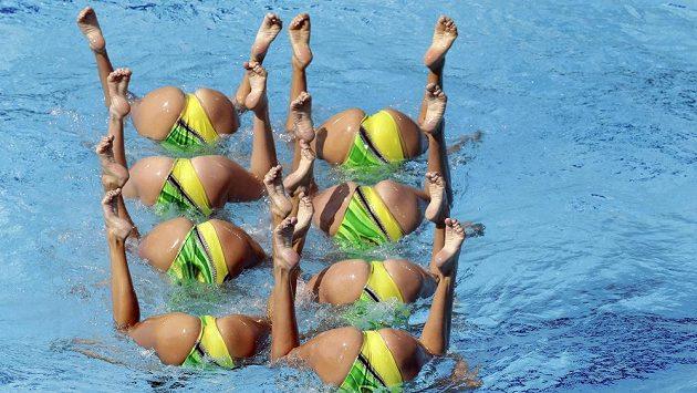 Ukrajinské synchronizované plavkyně v areálu Maria Lenk Aquatic Center v Riu.