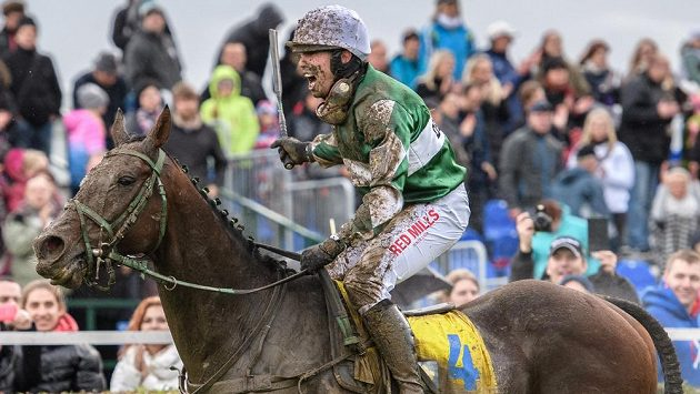Žokej Jan Kratochvíl na koni No Time To Lose oslavuje vítězství ve Velké pardubické 2017.