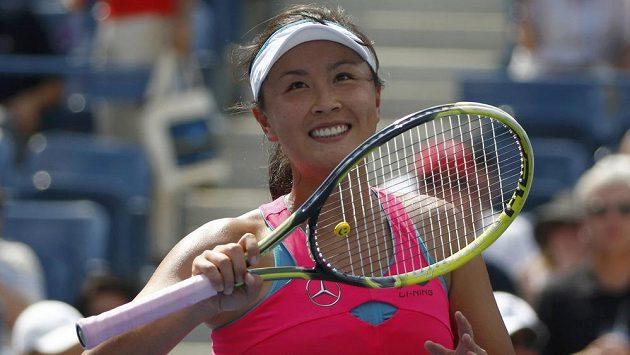 Číňanka Pcheng Šuaj po výhře nad Belindou Bencicovou ze Švýcarska.