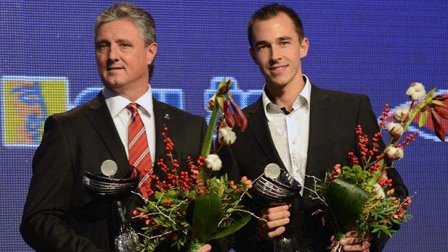 Vítězný daviscupový tým Tomáš Berdych, Radek Štěpánek, Lukáš Rosol (vpravo) a Ivo Minář s kapitánem Jaroslavem Navrátilem (vlevo) ovládl jubilejní 20. ročník tenisové ankety Zlatý kanár
