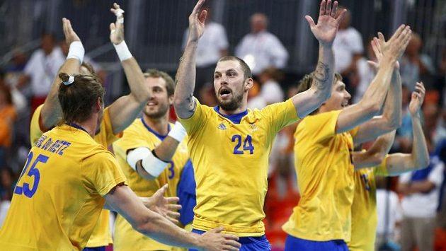 Házenkáři Švédska se radují z postupu do finále olympijského turnaje.