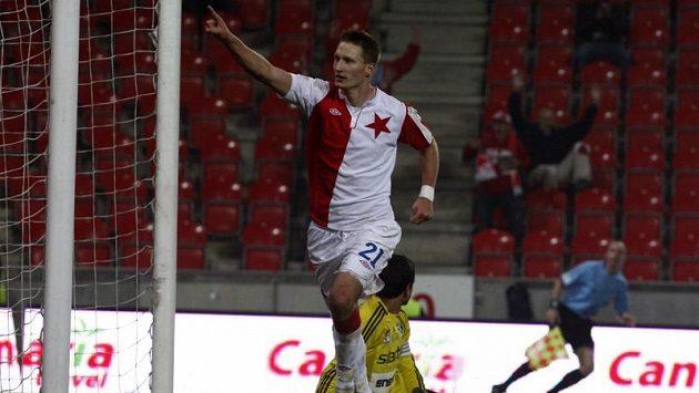 Slávista Milan Škoda slaví vítězný gól proti Příbrami.
