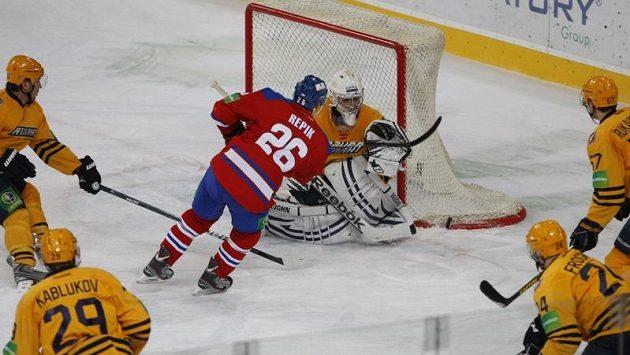 Michal Řepík v dresu Lva Praha v utkání Atlantu Mytišči.
