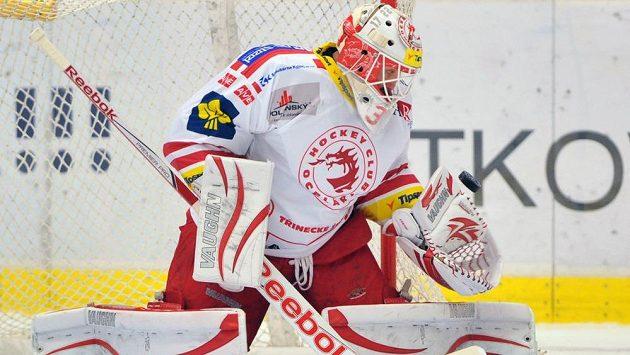 Třinecký brankář Šimon Hrubec si v utkání proti Vítkovicím připsal pátou nulu v sezóně.