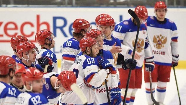 Ruští hokejisté na MS v Ostravě.