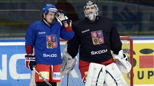 Útočník Petr Koukal (vlevo) a brankář Ondřej Pavelec v úterý v Praze na posledním tréninku české hokejové reprezentace před odletem na mistrovství světa.