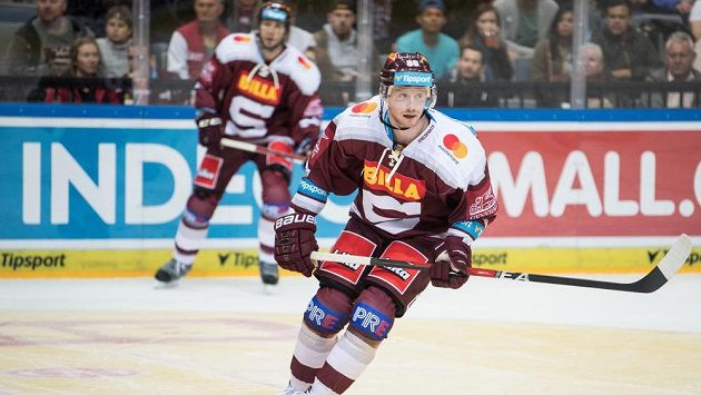 Alexander Reichenberg ze Sparty během utkání proti Jihlavě.