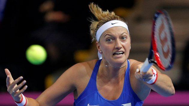 Česká tenistka Petra Kvitová ve finále Fed Cupu ve Štrasburku proti Francouzce Garcíaové.