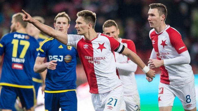 Milan Škoda se raduje z gólu proti Jihlavě.