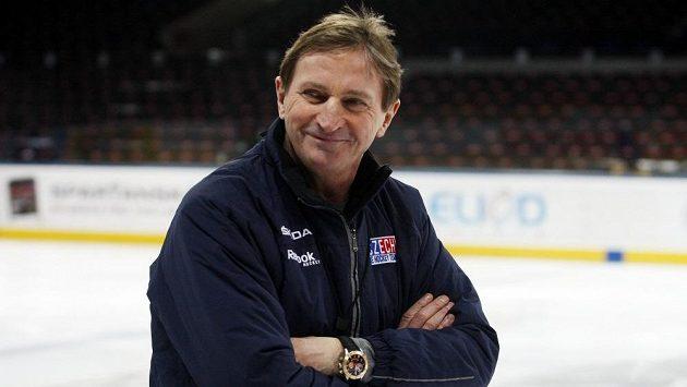 Trenér Alois Hadamczik na pondělním tréninku hokejové reprezentace.