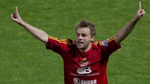Zbyněk Pospěch z Dukly se raduje z gólu. Jeho trefa ke třem bodům Dukle ale nestačila.