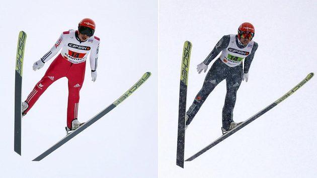 Favorizovaní němečtí sdruženáři Eric Frenzel (vlevo) a Johannes Rydzek při skokanské části sprintu dvojic na MS v Lahti.
