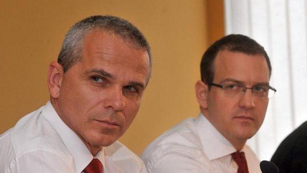 Trenér Sparty Vítězslav Lavička (vlevo) a majitel klubu Daniel Křetínský